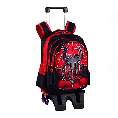 YUANY Set di Zaini per Bambini da Supereroe a 6 Ruote, Borse da Scuola per Trolley per Studenti elementari per Ragazzi,Spiderman-42 * 32 * 22CM
