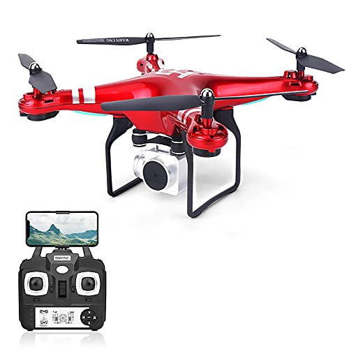 YTYC 2021 New 4K Camera Rotation Waterproof Professional RC Drone-Waterproof Military Drone-Amazing Super HD Aerial Photography and Long Endurance Large Drone (Red)