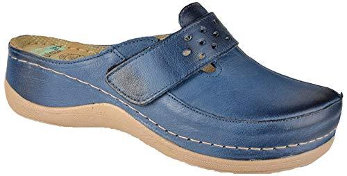 Leon 902 Zuecos Zapatos Zapatillas de Cuero Para Mujer, Azul, EU 40