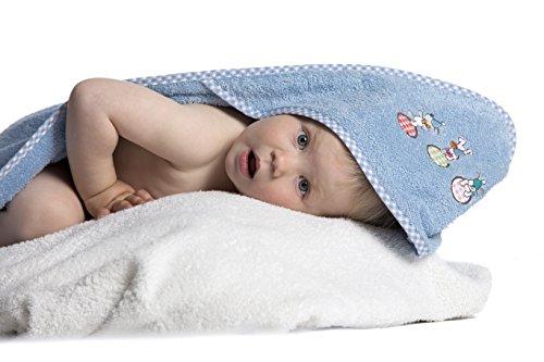 Zollner Toalla bebé con capucha, algodón, 100x100 cm, azul, Oekotex