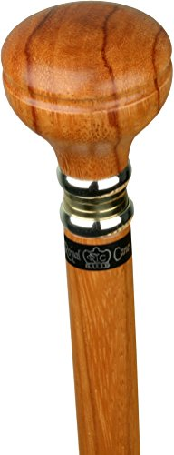Rosewood Flat Top Knob Handle Walking Stick with Rosewood Shaft and Two Tone Collar