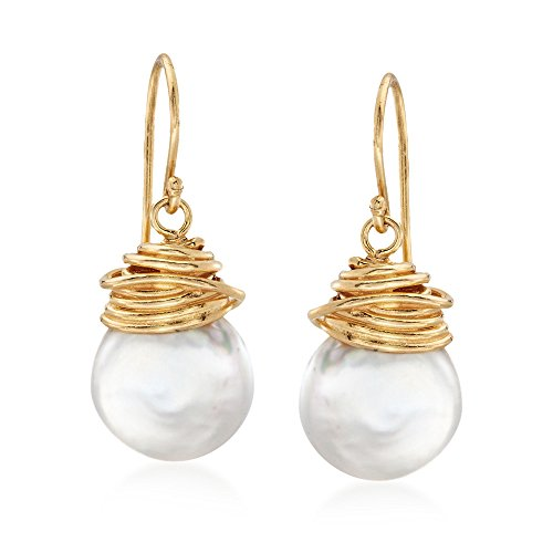 Ross-Simons 12-13mm Cultured Baroque Pearl Drop Earrings in 18kt Gold Over Sterling