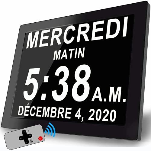 8'' Horloge Numérique Murale Réveil Calendrier avec Date Jour Et Heure Non-Abrégée Rappel pour Démence Alzheimers Le Personne âgée
