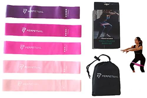PERPETUAL Bandas Elásticas Musculación Resistencia (Pack de 5) Cintas Gomas Colores Fitness Yoga Pilates Ejercicios Entrenamiento Piernas Glúteos Minibands Hombre Mujer