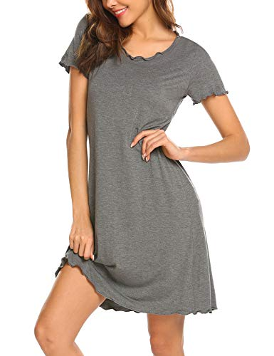 Ekouaer Women's Short Sleeve Nightshirt Round Neck Comfy Nightgown Sleep Dress Short Nightgowns for Women Ruffle Seams Sleepshirt Grey S