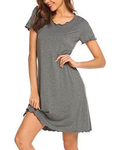 Ekouaer Nightshirt Dress Women's Nightgown Cotton Sleep Shirts Scoopneck Short Sleeve Sleepwear Sleep Shirt for Women Grey XL