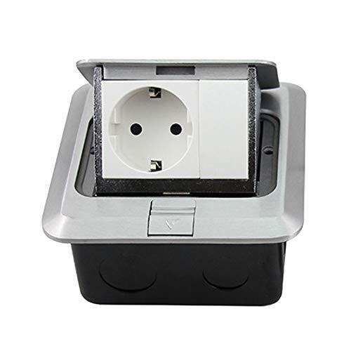 Standard Wasserdichte Bodensteckdose Aluminium Silber Panel Pop Up 16A 250V Steckdose Außensteckdose (Rated Voltage : 100 240V, Type : Floor Socket)