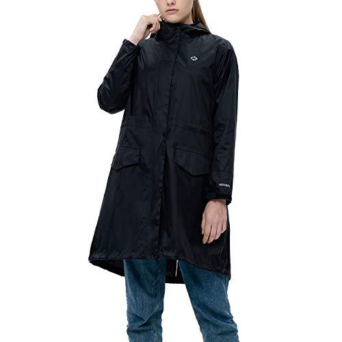 NAVISKIN Damen Regenmantel wasserdicht Regenjacke leicht Regen-Parka 2 Eingriffstaschen integrierte Packtasche Femininer Schnitt Fishtail Schwarz Größe M