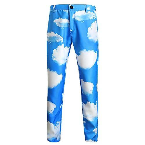 BIONIO Men's Suit Pants Casual Printed,Stretch Printing Trousers Slim Fit Suit Separates Classic Fit Suit Separate Pant Sky Blue
