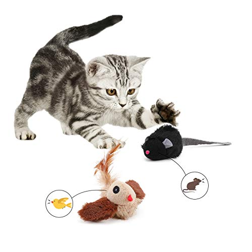 PAKESI Cat Toy, Interactive Cat Toys for Indoor Cats, Simulated Animal Sounds, Plush Cat Toys Birds-2Pack