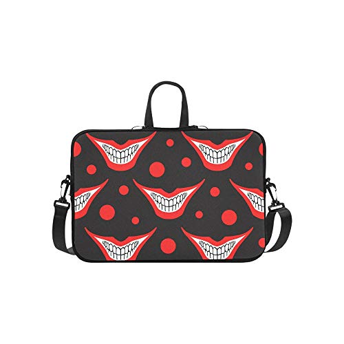 Evil Clown Or Playing Card Joker Smile with Circle Pattern Briefcase Laptop Bag Messenger Shoulder Work Bag Crossbody Handbag for Business Travelling