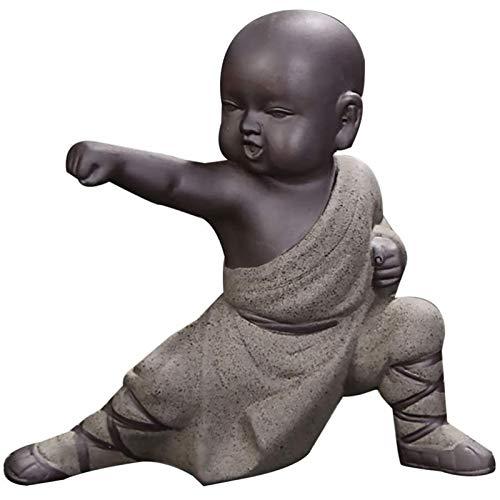 LGYKUMEG Nette Kleine Mönche Figurine, Mini Mönch Ornamente Kung Fu Buddha Statue Tee Haustier Zen Garten Tee Tablett Figur für Kung Home Desktop Dekoration,Grün