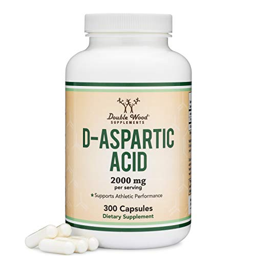 D-Aspartic Acid (DAA) 2,000mg Per Serving, 300 Capsules, Promotes Athletic Performance and Testosterone Levels (Vegan Safe, Non-GMO, Gluten Free, Made in The USA) by Double Wood Supplements