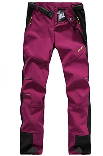 Micosuza Damen Fleece Wanderhose Winddicht Wasserdicht Softshell Outdoorhose, Dunkel Rosa, EU M = Tag XL