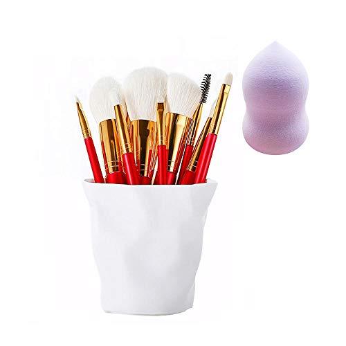 Pinceaux de maquillage, 10pcs Set de pinceaux de maquillage avec support Fondation pinceau yeux pinceaux de maquillage Pinceau à sourcils complet avec éponge à mélanger,Cup