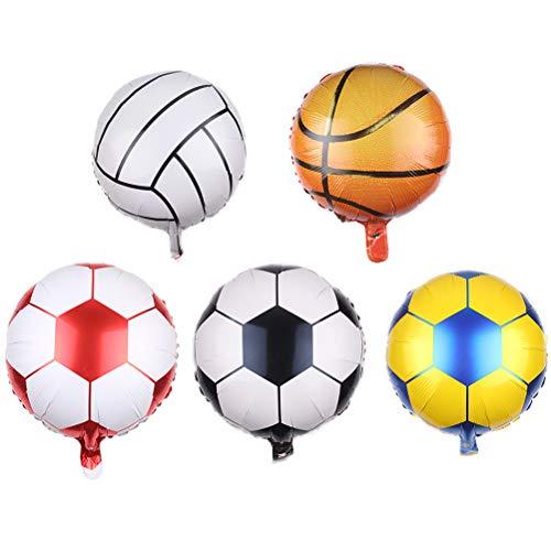 Amosfun Voetbal Foil Ballonnen en Basketbal Ballonnen voor Sport Thema Feest Verjaardag Feestbenodigdheden (2 Voetbal Zwart + 2 Voetbal Geel + 2 Voetbal Rood + 2 Tennis + 2 Basketballen) 10 Stks