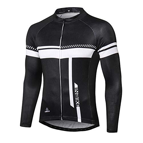 INBIKE Maglia da Ciclismo Estivi Uomo Maniche Corte Traspirante Asciugatura Rapida Magliette MTB Abbigliamento Mountain Bike MTB (Nero,XL)