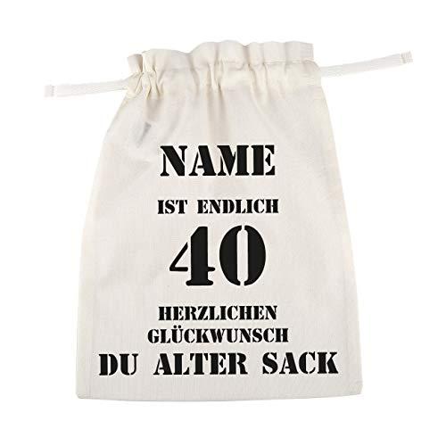 Herz & Heim® bedruckter Baumwoll Geschenkbeutel - Alter Sack - mit Namen des Geburtstagskindes 40. Geburtstag