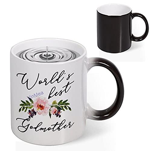 Taza de cerámica reactiva con calor de la mejor madrina, taza de café para bebida, regalo de 11 onzas para hombres, mujeres, amigos