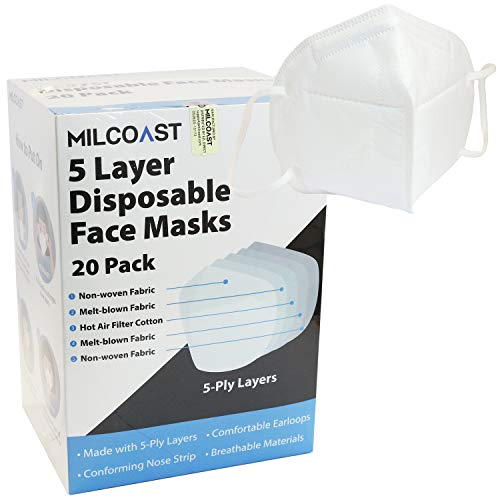 Milcoast 5-Ply Layer Disposable Protective Face Masks Respirator - Single Wrap 20 Pack