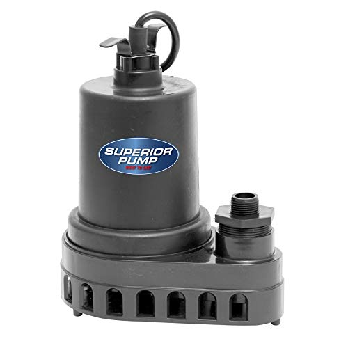 Superior Pump 91570 1/2 HP Thermoplastic Submersible Utility Pump with 10-Foot...