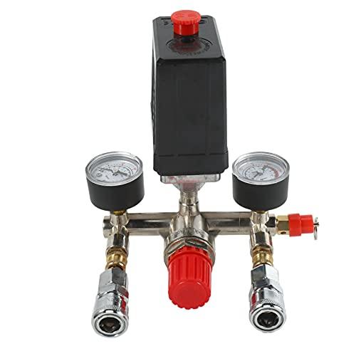 TEEAN Interruptor De La VáLvula De PresióN Del Compresor De Aire Medidores De Regulador De Alivio De Colector 90~120 Psi 240V 17X15.5X19Cm