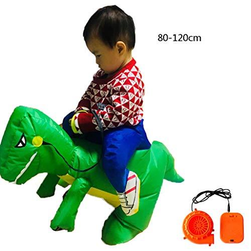 LXLTLB Trajes Inflables Halloween Adulto/Niño Inflable Dinosaur Partido Dinosaurio Hinchable Traje Funny Dress,Verde,80~120cm