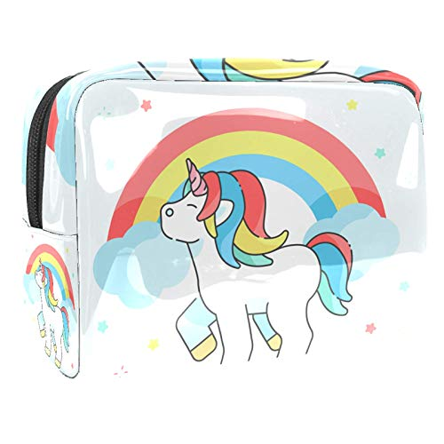 Cosmetic Bag for Women Rainbow Unicorn Purse Makeup Bag Roomy Travel Toiletry Pouch Girls Gifts 7.3x3x5.1in