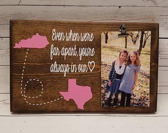 Bilderrahmen mit großer Distanz Geschenk für Freunde, Schwester, Holz-Fotohalter, Bilderclip, auch wenn wir weit entfernt sind