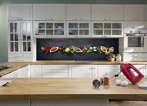 Generisch Glas Küchenrückwand/Spritzschutz ESG 6 mm Kräuter in Schalen (45 x 113 cm)