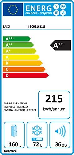 AEG SCB51621LS Einbau Kühl-Gefrier-Kombination mit Gefrierteil unten / A++ (215 kWh/Jahr) / 160L Kühlschrank / 72L Gefrierschrank / Glasablagen / Einbau-Höhe: 158 cm