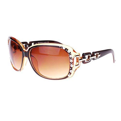 Womens Oversized Rectangular Rhinestone Encrusted Chain Arm Fashion Sunglasses Brown