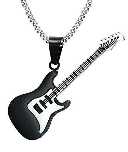 VNOX Männer Frauen Edelstahl Gitarre Charm Anhänger Halskette für Musik Liebhaber Geschenk Schwarz, Free Curb Chain