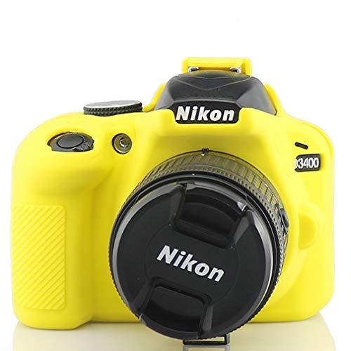 Amarillo Silicona Funda para Suave Silicona Goma cámara Protectora Funda para Nikon D3400