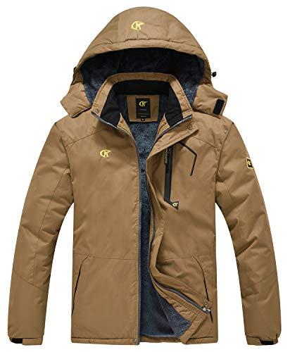 QPNGRP Mens Waterproof Ski Snowboarding Jacket Winter Windproof Snow Coat Coffee X-Large