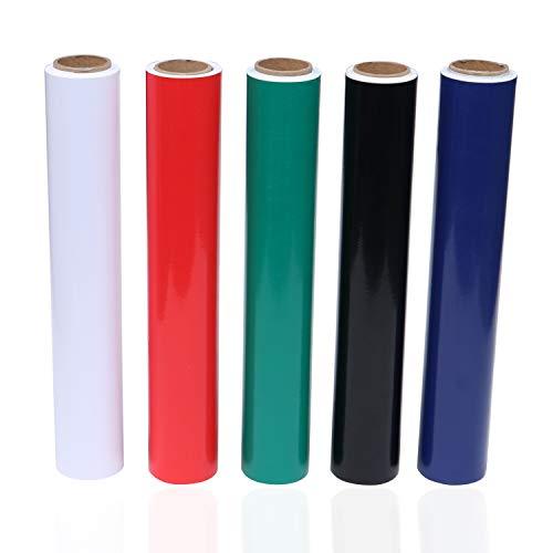 BELLE VOUS meerdere kleuren vinyl zelfklevende folie (5-pack) - 30cmx3m vinylfolie plotter rollen- 5 kleuren zelfklevend plotterfolie voor hobby, knutselen, scrapbooking, stickers aftrekplaatjes decoratie