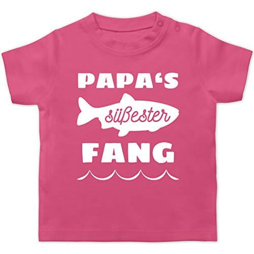 Sprüche Baby - Papas süßester Fang - 6/12 Monate - Pink - Angeln - BZ02 - Baby T-Shirt Kurzarm