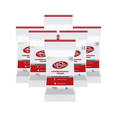 Lifebuoy Handreinigungstücher (Hygiene Tücher mit antibakteriellem Effekt), 6er Pack (6 x 10 Tücher im handlichen Pack)