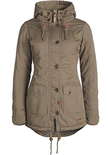 DESIRES Annabelle Damen Übergangsparka Parka Übergangsjacke Lange Jacke mit Kapuze, Größe:M, Farbe:Shitake Br (5323)
