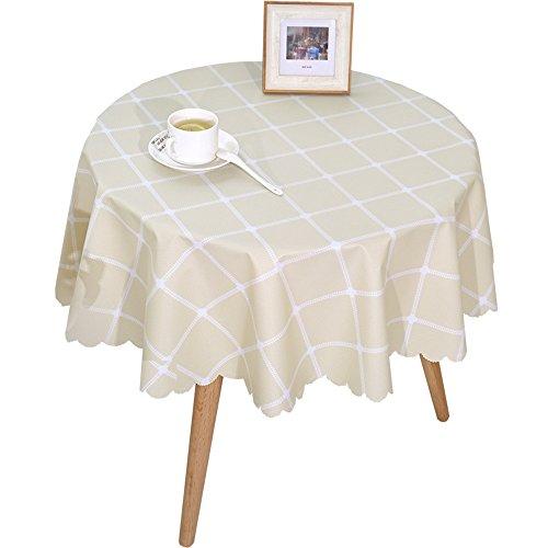 Facile Rustique Look Plaid Vinyle Ronde Table Couverture, PVC imperméable à l'huile Anti-Huile Nettoyer Toile cirée pour Cafe 135cm (Color : Beige)