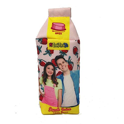 Me Contro Te - Estuche vacío con forma de cartón de leche - Rosa con colgante de fresa