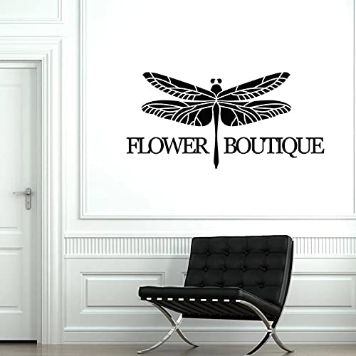 YGYT Pegatinas de Pared Negro 117X57 CM Flor Boutique Vinilo Pared calcomanía libélula Tienda decoración Pegatinas Mural