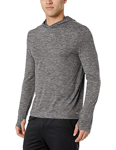 Amazon Essentials Tech Stretch Long-Sleeve Pullover Hoodie athletic-sweatshirts, black space dye, Medium