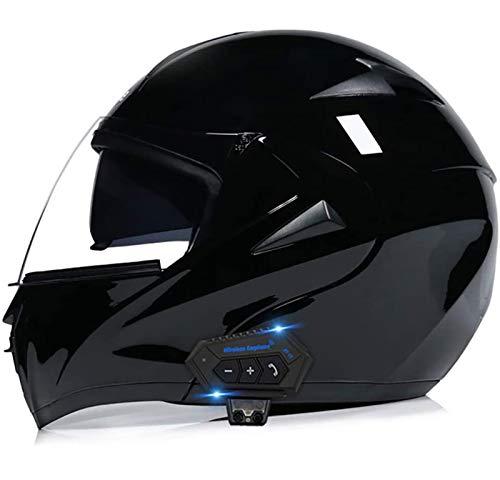 Cascos modulares de motocicleta Bluetooth+FM ECE Certificación, Cascos de Touring con doble altavoz integrado Bluetooth con micrófono para contestar automático K,M