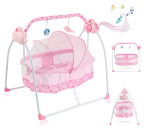Baby Bassinets - Foldaway Rocking Bassinet - Baby Soothing Motions Bassinet - Lightweight Baby Cribs- Portable Crib with Music Box, Smooth Gliding Motion That Soothes Baby (Pink)