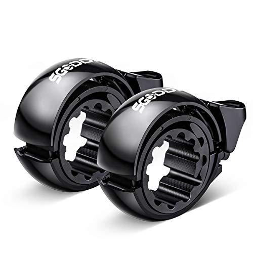 SGODDE 2er Fahrradklingel Laut,O Design Fahrradglocke für Alle Fahrrad Lenker, Q Bell Radfahren Fahrrad Glocke MTB Mountainbike Alarm Horn Ring, für 22.2-31.8mm Lenker Schwarz