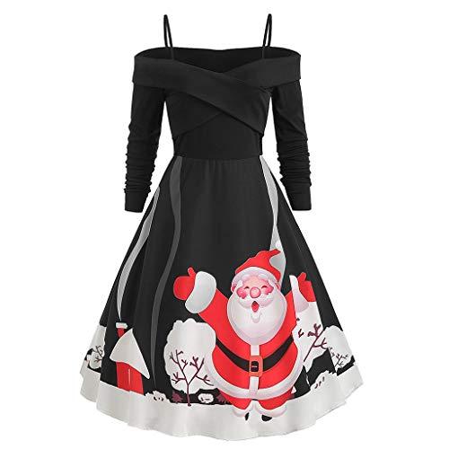 ღLILICATღ Vestido navideño Vintage, Vestido de Fiesta de Noche de Cuello Redondo de Manga Larga de Las Mujeres Vestido de cóctel de hasta la Rodilla Falda Plisada Vestidos de Fiesta