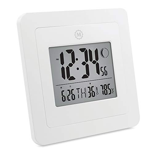 Marathon CL030049WH Digital Wall Clock with Alarm, Temperature, Date & Moon Phase. White - Batteries Included