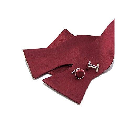 LABEL-CRAVATE Noeud-papillon à nouer bordeaux, pochette-mouchoir de costume et manchettes Bordeaux