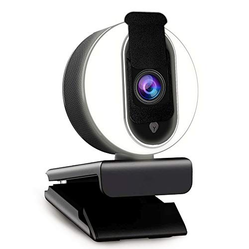 1080P Webcam with Software and Light, Privacy Cover and Dual Microphones, Advanced Auto-Focus,...